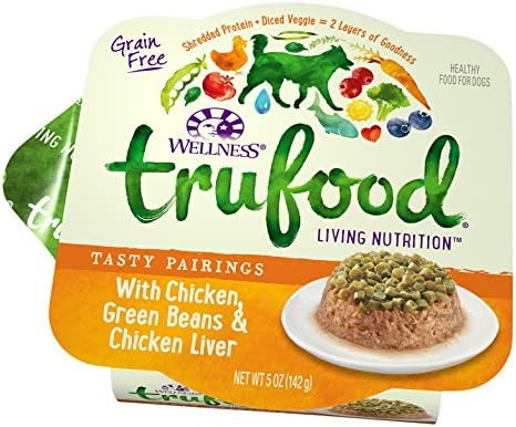 Wellness Trufood Tasty Pairings Natural Grain Free Wet Raw Dog Food, Chicken, Green Beans Chicken Liver, 5-Ounce Cup Pack Of 24