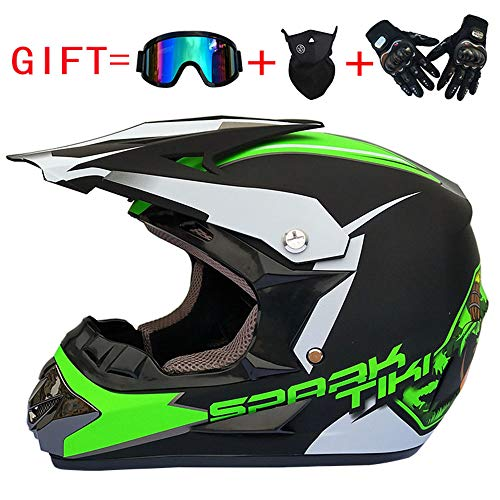 SOGG Off-Road Helmet Outdoor Full Face MX Racing Helmet Adult Youth Motocross Combo Helmet Free Windproof Glasses Mask Gloves DOT Approved,Green,M