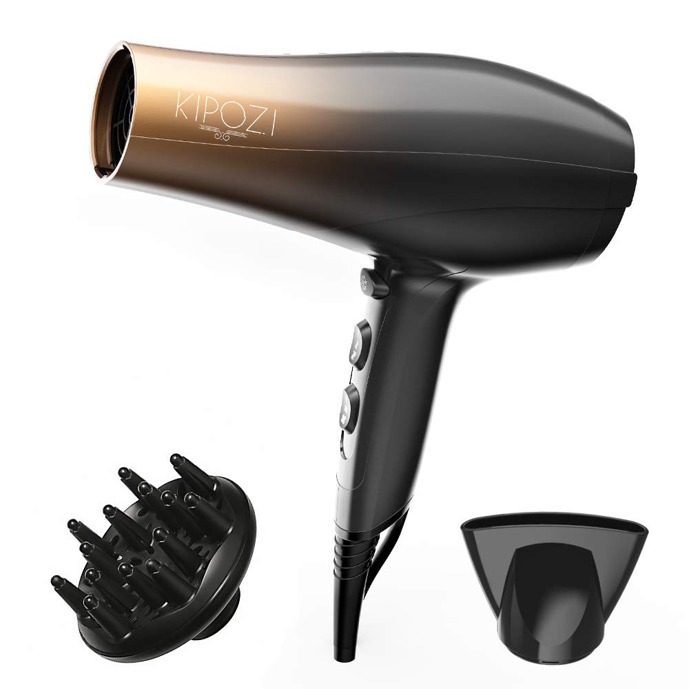 KIPOZI 1875W Professional Hair Dryer, Nano Ionic Fast Dry Hair Blow dryer with Diffuser and Concentrator, 2 Speed 3 Heat Cool Shot Setting, Low Noise hair blower, Lightweight by KIPOZI