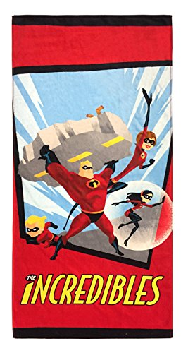 Jay Franco Disney The Incredibles Family Kids Bath/Pool/Beach Towel - Super Soft & Absorbent Fade Resistant Cotton Towel, Measures 28 inch x 58 inch (Official Disney Pixar Product)
