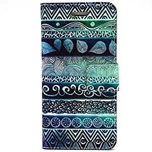 GX flores de huellas dactilares patrón pu cuero caso de cuerpo completo con ranura para tarjetas y soporte para el iPhone 6