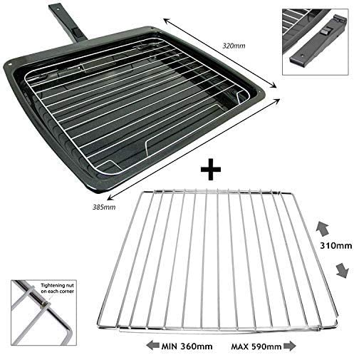 385mm x 320mm SPARES2GO Grill Pan with Handle /& Rack Insert for Neff Oven Cookers Extendable Shelf