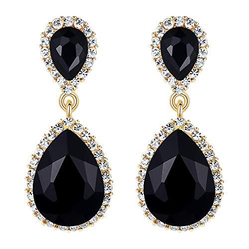 (EVER FAITH Women's Austrian Crystal Wedding Tear Drop Dangle Earrings Black Gold-Tone)