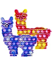 Push POP Fidget Llama Toys: 2pack Sensory Special Needs Stress Relief and Anti-Anxiety Silicone Squeeze Bubble Alpaca Toy Tools for Kids and Adults