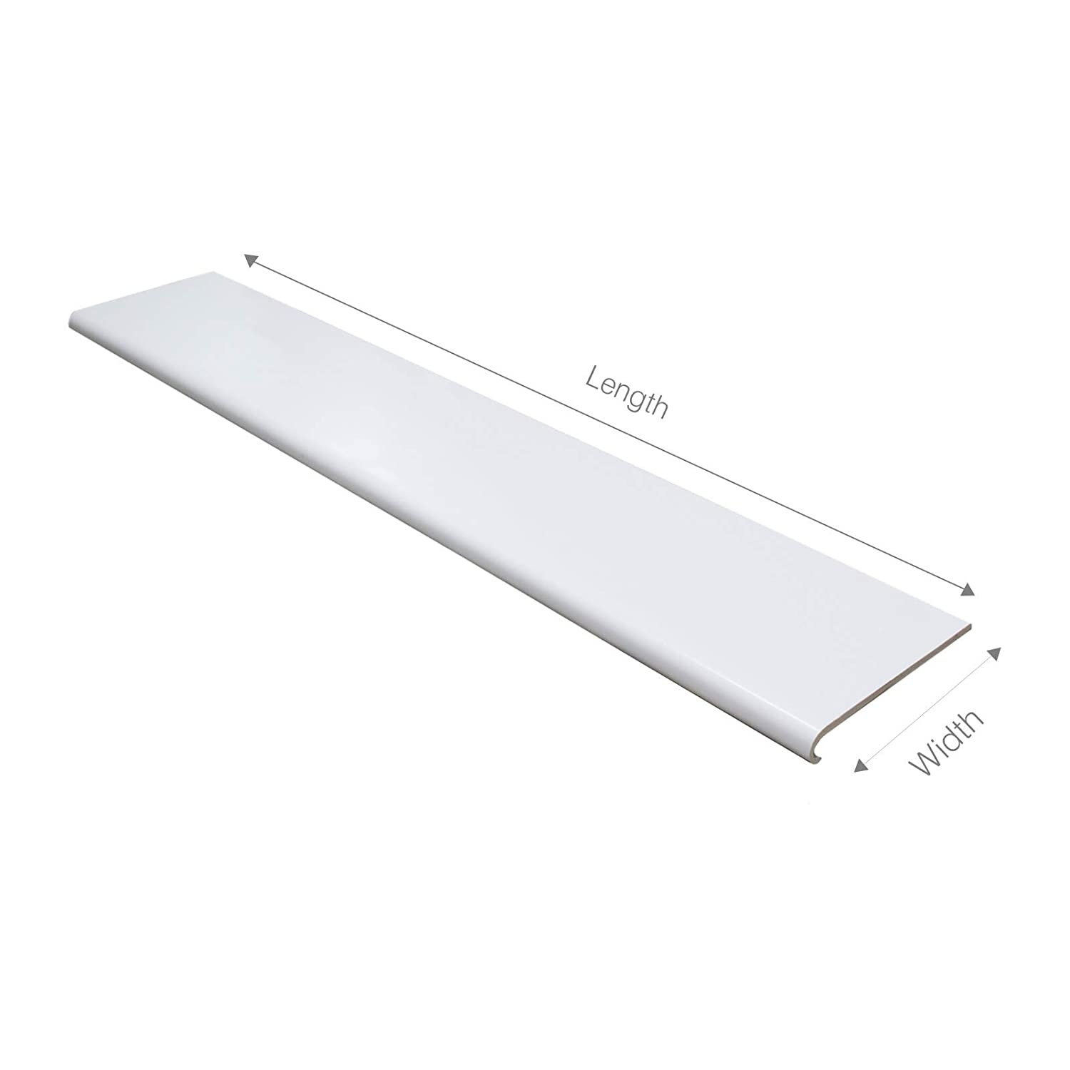 260mm White UPVC Bullnose Window Board//Cill Cover 2.5m Long 9mm Thick Plastic Window Sill Capping