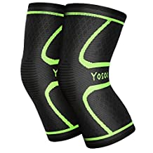 Yosoo Knee Sleeves (Pair) Support for Running, Jogging, Walking, Hiking, Workout, Basketball, Knee Injury Pain Arthritis Relief, Knee Compression Sleeve, Fits Men Women (M)