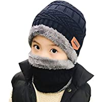 Winter Hat Scarf for Boys Girls Kids (5-14 Years) Slouchy Beanie Windproof Warm Knit Snow Infinity Scarf Skull Cap
