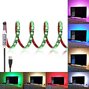 SOLLED Bias Lighting for HDTV 120 LEDs TV Backlight, 6.56Ft Ambient TV Lighting Multi-Color Flexible 5050 RGB USB LED Strip, Best for Flat Screen/HDTV/Desktop PC Monitor Background Lighting
