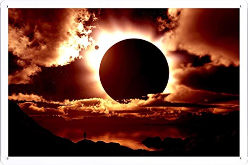 Tin Sign Poster Solar Eclipse (20x30cm) By Nature Scene Painting - Eclipse Wall Plate