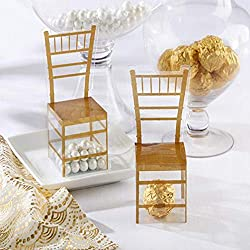 MEIZOKEN 100pcs Gold Chair PVC Transparent Candy Box Favor Gift Box Wedding Box Baby Shower Boxes Wedding Favors and Gifts