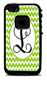 Letter L Monogram Green Cheveron Vinyl Decal Sticker for iPhone 5/5S Lifeproof Case by icecream design