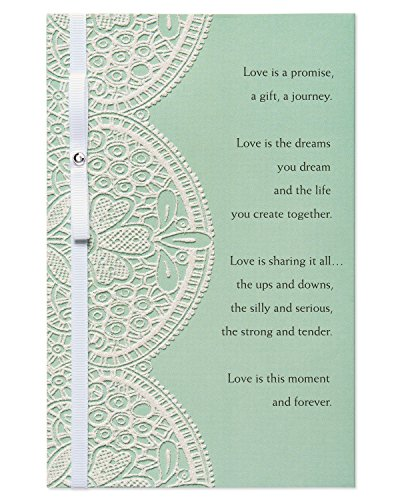 American Greetings Celebration Wedding Greeting Card with Rhinestone and Ribbon