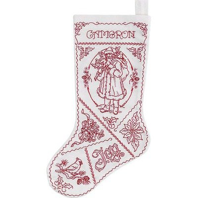 Holiday Redwork Crewel Embroidery Stocking