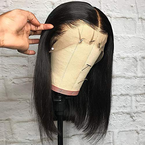 BEEOS 13x6 Short Bob Lace Front Human Hair Wigs for Black Women, 150% Density Pre Plucked and Bleached Knots Natural Black Brazilian Remy Bob Wig (10 inch)