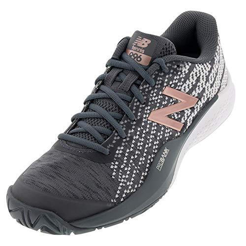 New Balance Women's 996v3 Hard Court Tennis Shoe, Black/Champagne, 6.5 B US