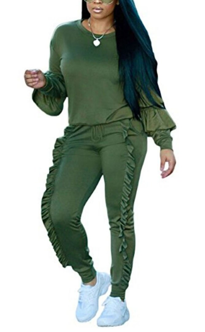 Tomblin Womens 2 Piece Bodycon Sweatsuit Set Tracksuit Outfit Sport Suit Sweatshirt and Sweatpants (L, Green)