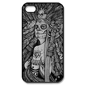 iPhone 4 4S Case,Aztec Tribal Indians Chief Skull High Definition Fantastic Design Cover With Hign Quality Hard Plastic Protection Case