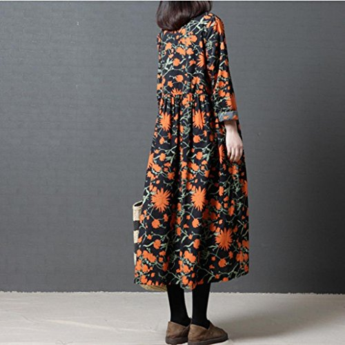 Ankle Long Orange and Linen Loose Plus O Length Printing 2018New Size Cotton Dress Sleeves Alimao Women Neck x18qwOacf