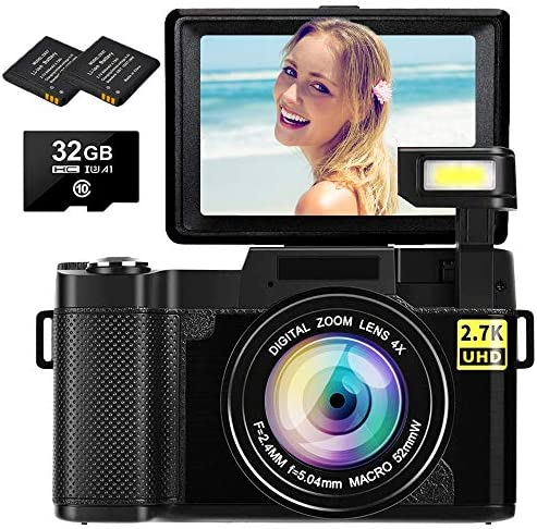 Digital Camera Vlogging Camera 2.7K 30MP Ultra HD Camera Compact Camera 4X Digital Zoom Retractable Flashlight Video Camera with 3.0 Inch Flip Screen with 32GB Micro SD Card and a pair of Batteries