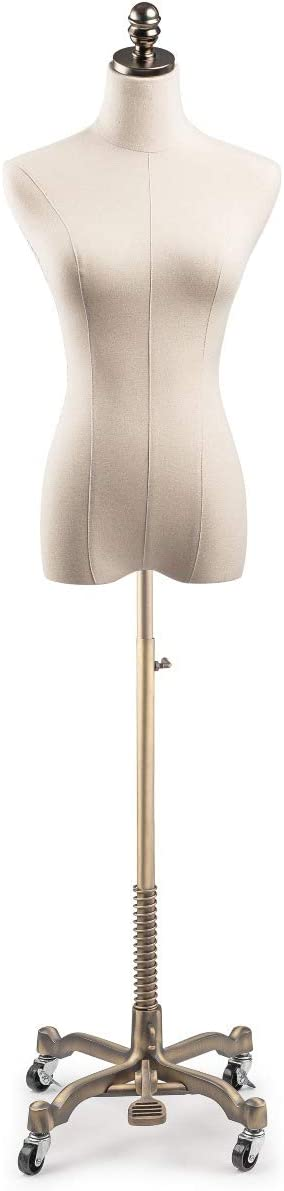 Female Display Dress Form Mannequin in Natural Canvas on Metal Rolling Base by TSC-Small-Black