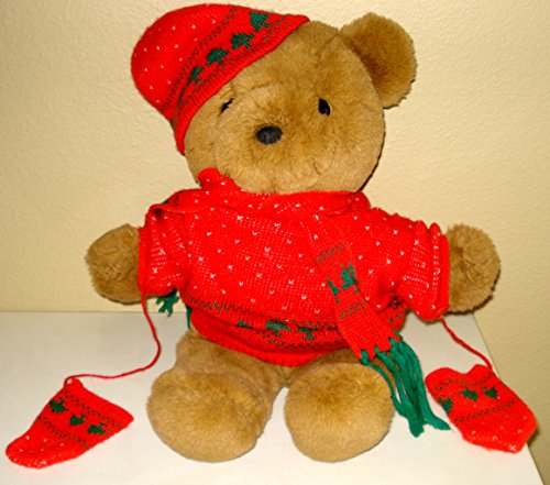 Teddy Bear Large Plush Wearing Holiday Sweater, Hat, Scarf and Mittens - 18 Inches
