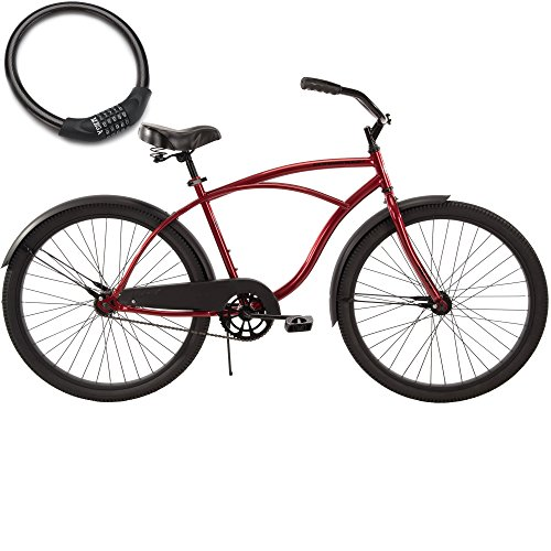 26 Inch Huffy Mens Cranbrook Steel Frame Cruiser Bike for Adults with Cable Lock