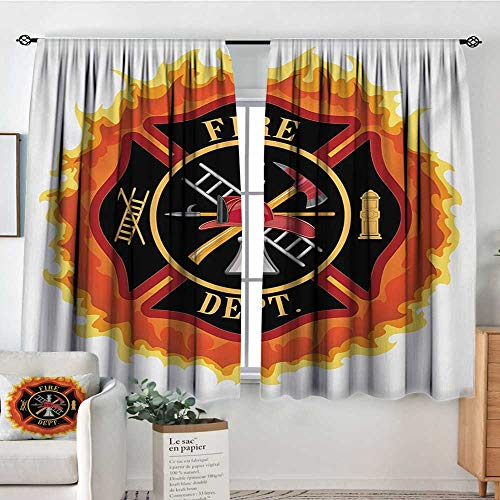 Mozenou Fireman Thermal Insulating Blackout Curtain Fire Department Icon with Ladder Public Service Essential Tools of Firefighters Thermal Blackout Curtains 63