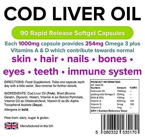 Lindens Aceite Hígado de Bacalao 1000mg Cápsulas Paquete 90GB Fabricante: Amazon.es: Salud y cuidado personal