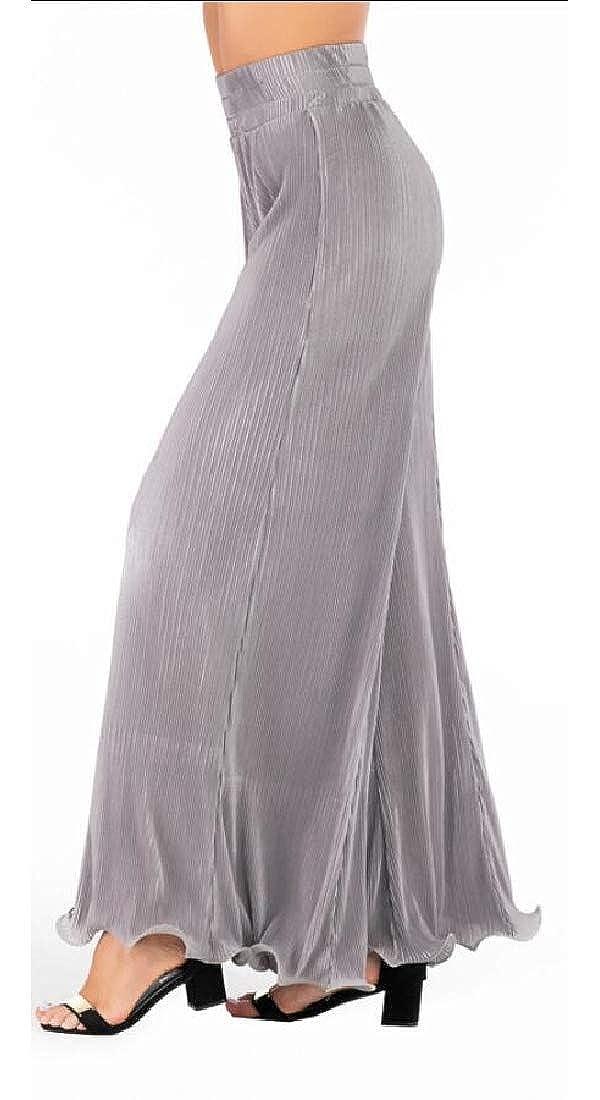 Keaac Womens Elastic Waist Solid Wide Leg Loose Casual Pleated Pants