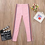 Toddler Baby Kids Girls Sports Pants Casual Stripe Sweatpants Jogging Slim Fit Skinny Running Track Trousers (Pink, 3T)
