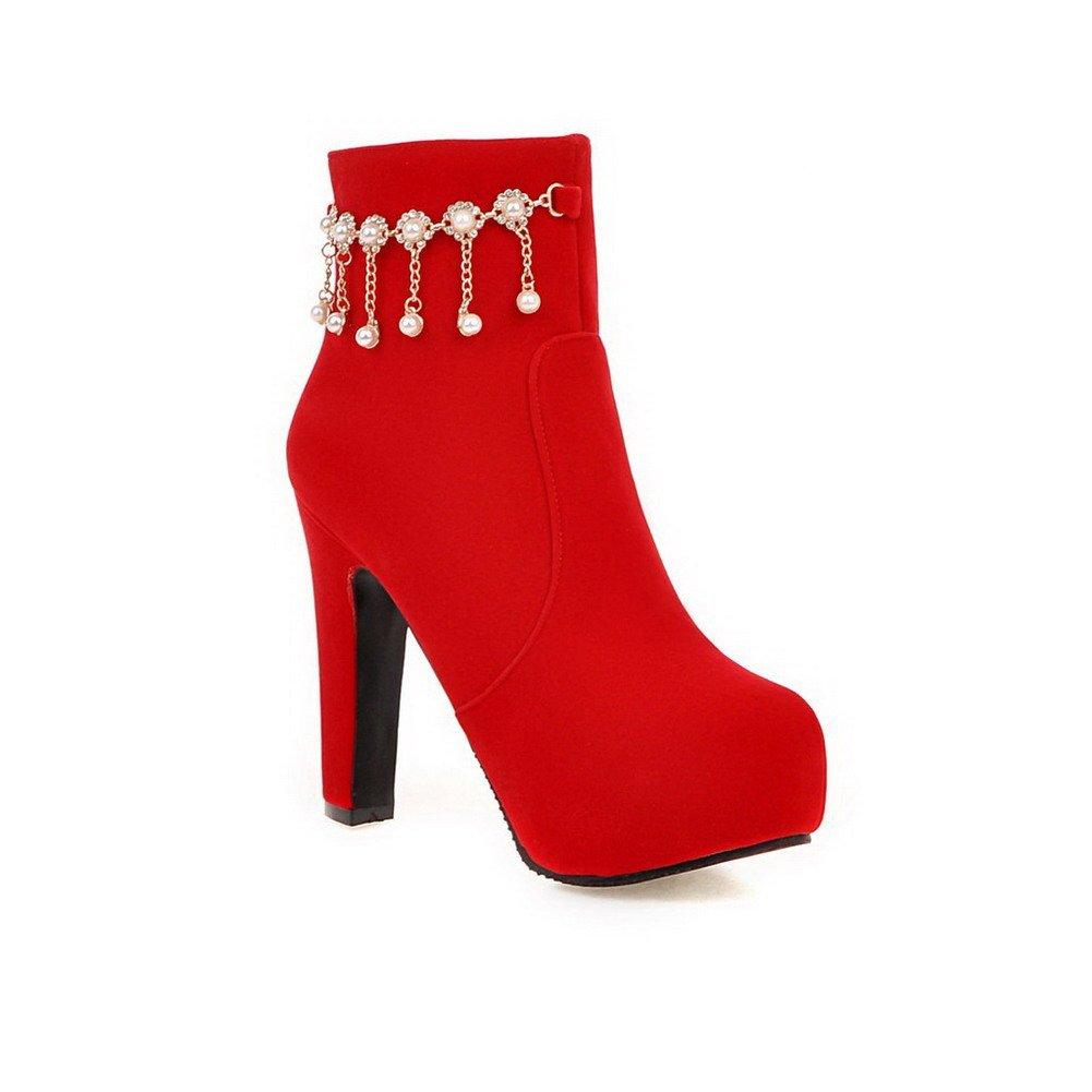 VogueZone009 avec Femme Couleur Unie Rouge Dépolissement Zip Femme Rond Bottes avec Pendentif Rouge b47b9f8 - deadsea.space