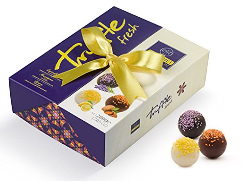 Elit - Gourmet Collection Chocolate Truffles (Lavender, Lemon and Marzipan filling) Gift Box with Ribbon - (Fresh - 200 gr) (15 Count)