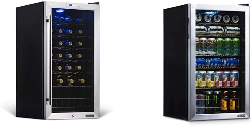 NewAir Compressor Wine Cooler Refrigerator, 27 Bottle Capacity Freestanding Wine Cellar in Stainless Steel - AWC-270E & Beverage Refrigerator and Cooler with Glass Door, AB-1200