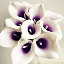 20pcs Artificial Real Touch Calla Lily Life Like Callas Flower for Wedding Bouquet Artificial Decorative Flowers (purple)