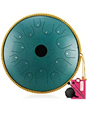 Steel Tongue Drum, Tank Drum Steel Drums Steel Tongue Drum, 14- inch Percussion Tambourine Yoga Instrument, Family Travel Classic Drum with Drumsticks, Carrying Bag for Adults Yoga Practice, Meditati