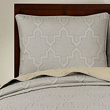 Brielle Casablanca, Reversible Quilt Set, Full Queen, Grey Linen