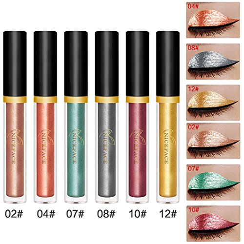 Halloween Eyeshadow , Hunzed 6PCS Halloween Style Metallic Smoky Eye Shadow Matte Waterproof Glitter Liquid Eyeliner Cosmetics Makeup (C)
