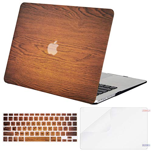 (MOSISO MacBook Air 13 Case (A1369 & A1466, Older Version 2010-2017 Release), Plastic Pattern Hard Case & Keyboard Cover & Screen Protector Only Compatible MacBook Air 13 Inch, Wood Grain)