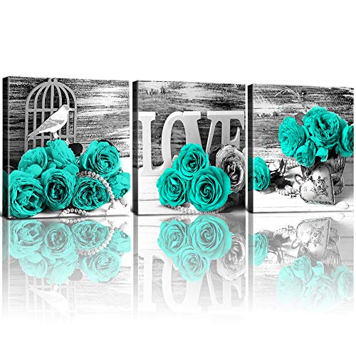 YOOOAHU Teal Green Rose Flowers Wall Art for Living Room Rural Blue Turquoise Canvas Prints Home Decor Modern Black and White Floral Pictures Framed Bathroom Bedroom Decoration Set of 3 Pieces 12x12 (Teal Green Roses)