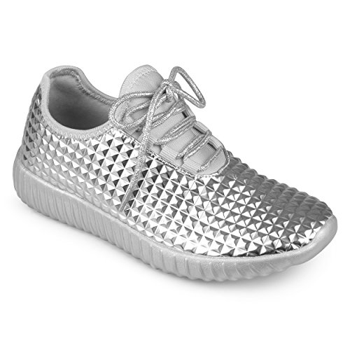 Journee Collection Womens Lightweight Embossed Lace-up Sneakers Silver qNK8FpS2