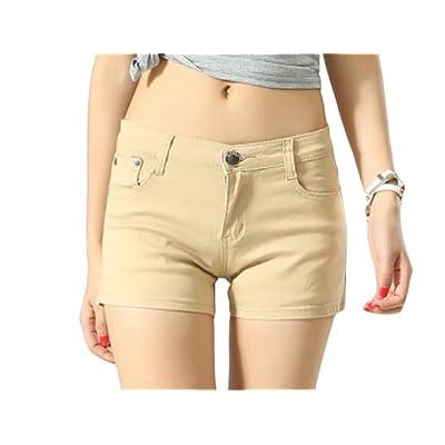 Abetteric Women Short Summer Shorts Skinny Summer Leisure Mulit Color Shorts Jeans Khaki XS