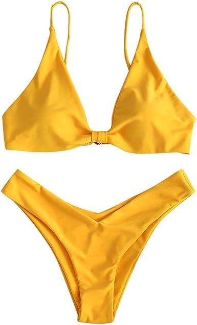ZAFUL Womens Tie Knot Front Spaghetti Strap High Cut Bikini Set Swimsuit