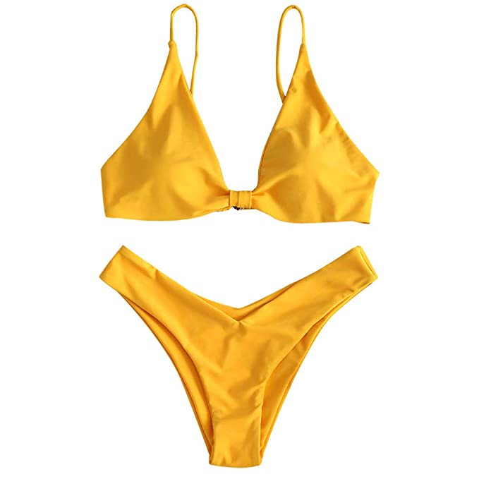 7c4a11113fbf6 ZAFUL Women's Tie Knot Front Spaghetti Strap High Cut Bikini Set Swimsuit (Bright  Yellow,