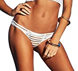 Beach Bunny Women's Hard Summer Skimpy Bikini Bottom with Full Back Shirring, White, Large