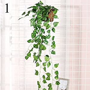 FYYDNZA 1Pcs Wall Mounted Simulation Green Rattan Vine Decoration Flower Plant Wall Basket Evergreen For Home And Garden 29