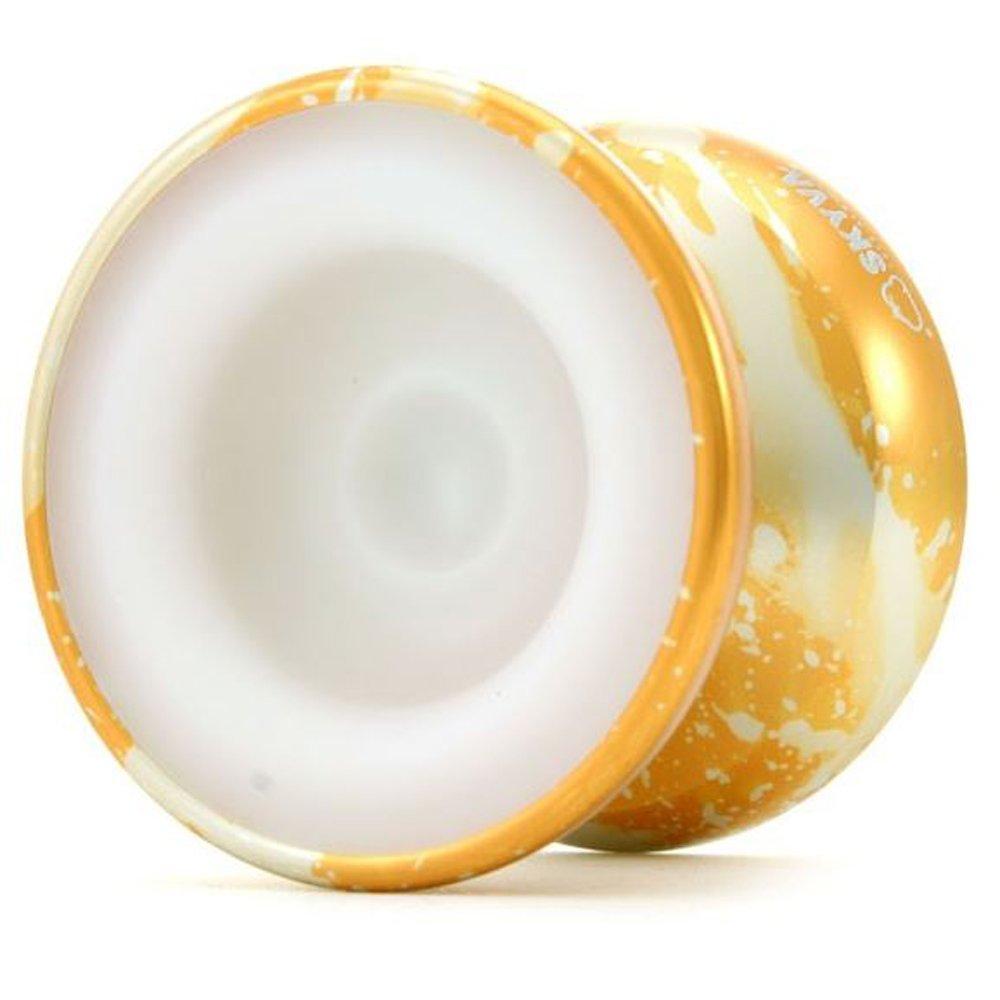 MagicYoYo 7075 Aluminum Skyva Yo-Yo - POM Sidecap Containing the Fingerspin Scoop - (Gold Silver) by MagicYo