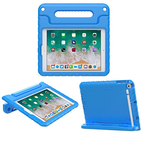 MoKo Case Fit Apple iPad 9.7 Inch 5th/6th Generation (2018/2017)/iPad Air/iPad Air 2 - Kids Friendly Shock Proof Convertible Handle Light Weight Protective Stand Cover with Apple Pencil Holder, Blue