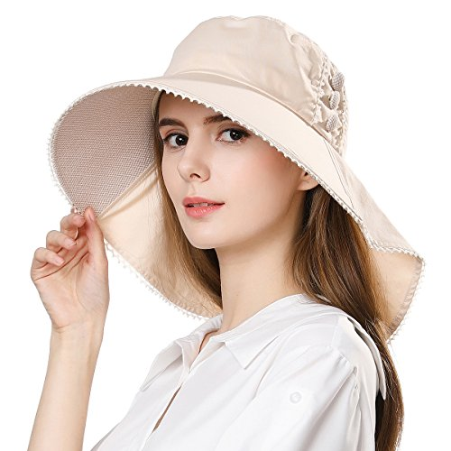 Womens Sun Protection Hats Summer Gardening Fishing Hiking Shades Hat UPF 50 Wide Brim Foldable Cotton Beige Siggi ()