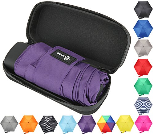Travel Umbrella with Waterproof Case - Small, Compact Umbrella for Backpacks, Purses, Briefcases or Cars - Versatile, Unisex Design - Made with Water-Resistant Pongee Fabric - Premium Quality - Purple