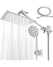 """willstar Rain Shower Head with Handheld Combo, 8"""" High Pressure Rainfall Shower Head with 11"""" Extension Arm, 9 Settings Handheld Shower Heads, Holder, Pipe Sealant Tape & 5Ft Hose for Bathroom"""